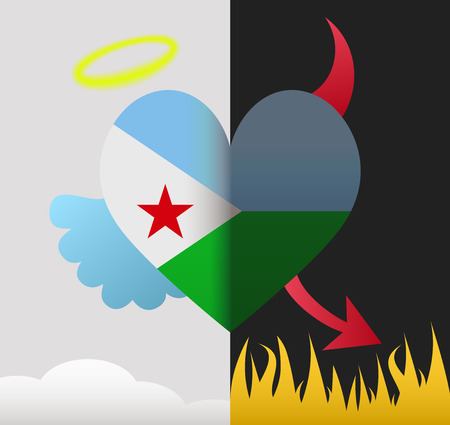 Djibouti background of a heart half demon half angel