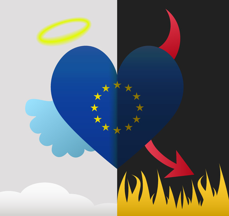 European Union background of a heart half demon half angel Vector