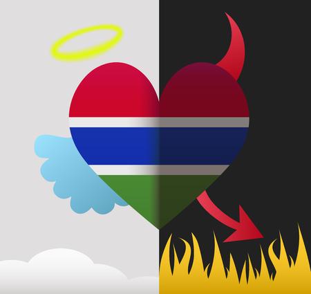 gambia: Gambia background of a heart half demon half angel Illustration