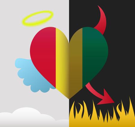 Guinea background of a heart half demon half angel
