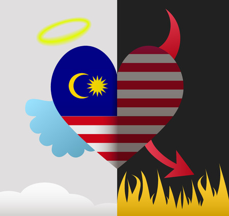 Malaysia background of a heart half demon half angel Vector