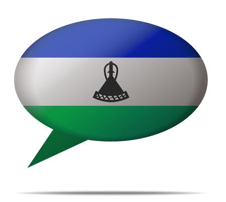 Illustration Speech Bubble Flag Lesoto