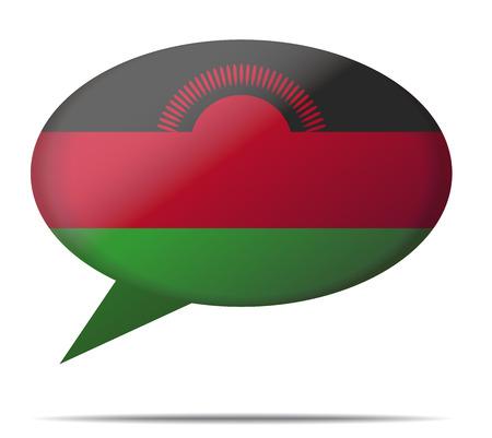 malawi: Illustration Speech Bubble Flag Malawi