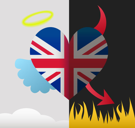 United Kingdom background of a heart half demon half angel Vector