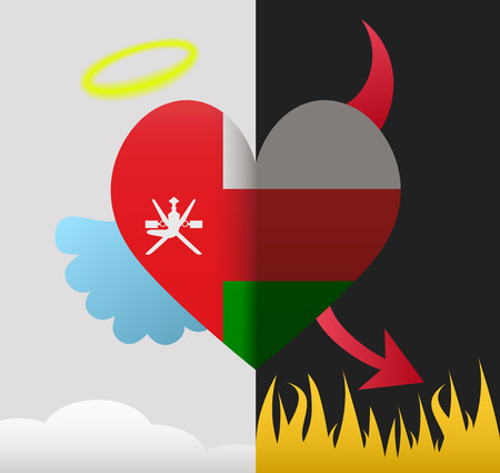 oman background: Oman background of a heart half demon half angel