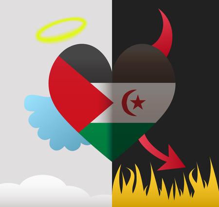 sahrawi arab democratic republic: Sahrawi Arab Democratic Republic background of a heart half demon half angel Illustration