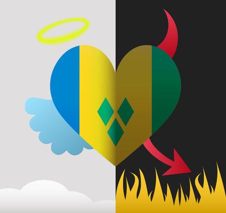 Saint Vincent and the Grenadines background of a heart half demon half angel Illustration