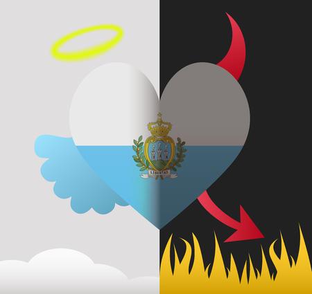 marino: San Marino background of a heart half demon half angel