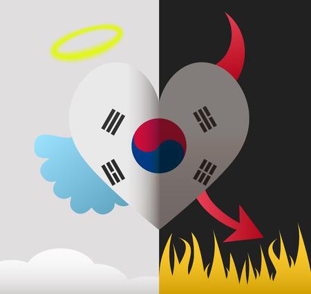 South Korea background of a heart half demon half angel Vector