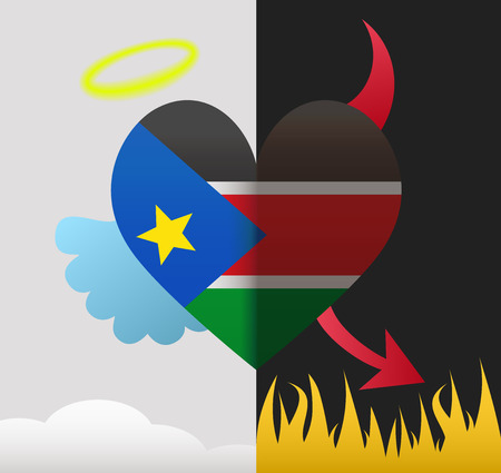 south sudan: South Sudan background of a heart half demon half angel Illustration