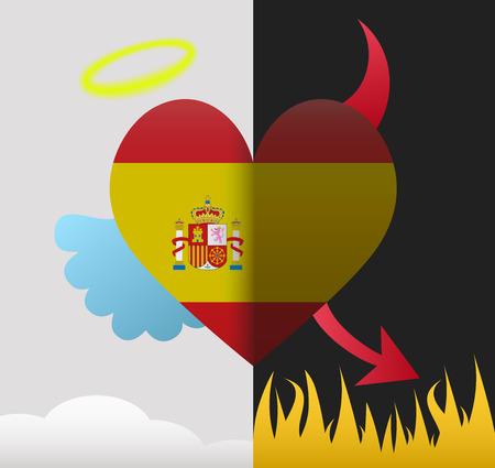 Spain background of a heart half demon half angel Vector