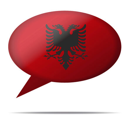 albania: Illustration Speech Bubble Flag albania Illustration