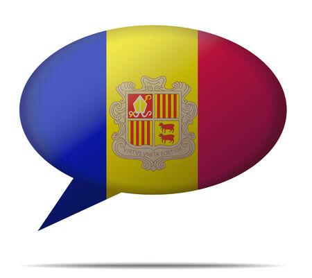 andorra: Illustration Speech Bubble Flag Andorra Illustration
