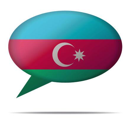 azerbaijan: Illustration Speech Bubble Flag Azerbaijan