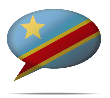 democratic: Illustration Speech Bubble Flag Democratic Republic of the Congo Illustration