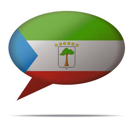 equatorial guinea: Illustration Speech Bubble Flag Equatorial Guinea