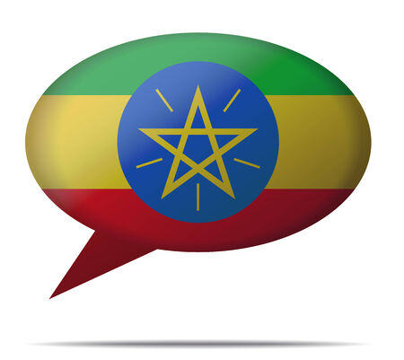 spech bubble: Illustration Speech Bubble Flag Ethiopia