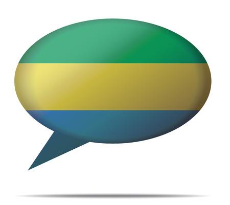 gabon: Illustration Speech Bubble Flag Gabon