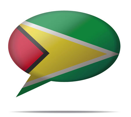 guyana: Illustration Speech Bubble Flag Guyana