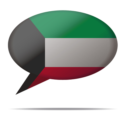 kuwait: Illustration Speech Bubble Flag Kuwait Illustration