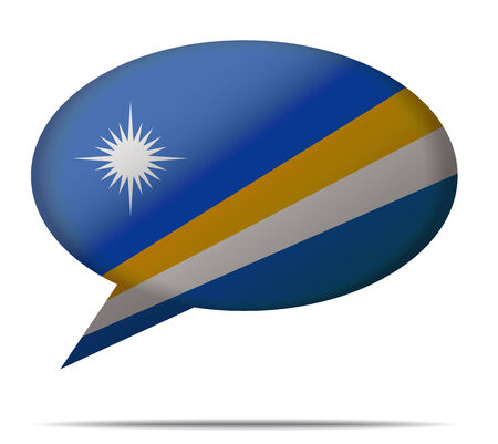 marshall: Illustration Speech Bubble Flag Marshall Islands