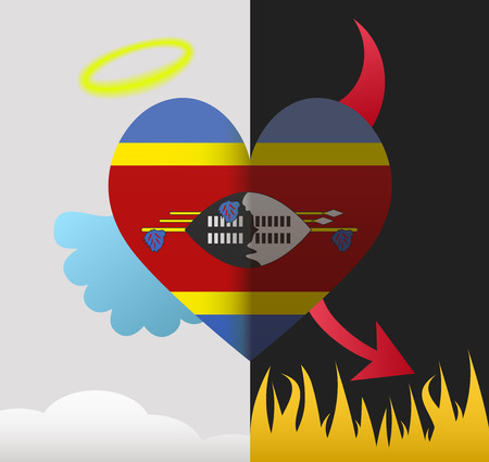 Swaziland background of a heart half demon half angel Vector
