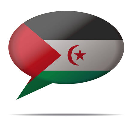 sahrawi arab democratic republic: Illustration Speech Bubble Flag Sahrawi Arab Democratic Republic Illustration