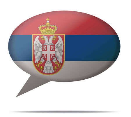 serbien: Illustration Sprechblase Flagge Serbien