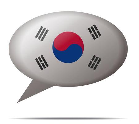 Illustration Speech Bubble Flag South Korea