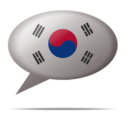 spech bubble: Illustration Speech Bubble Flag South Korea