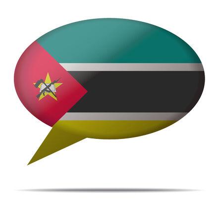 mozambique: Illustration Speech Bubble Flag Mozambique