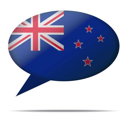 Illustration Speech Bubble Flag New Zealand Vector