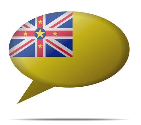 niue: Illustration Speech Bubble Flag Niue
