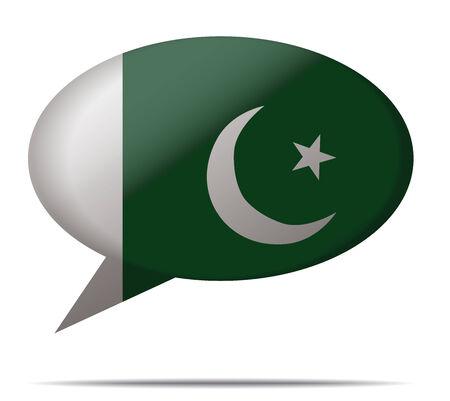 flag of pakistan: Illustration Speech Bubble Flag Pakistan