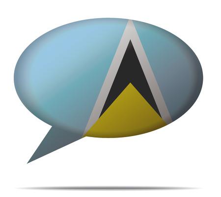 lucia: Illustration Speech Bubble Flag Saint Lucia