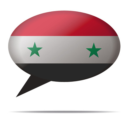 syria: Illustration Speech Bubble Flag Syria