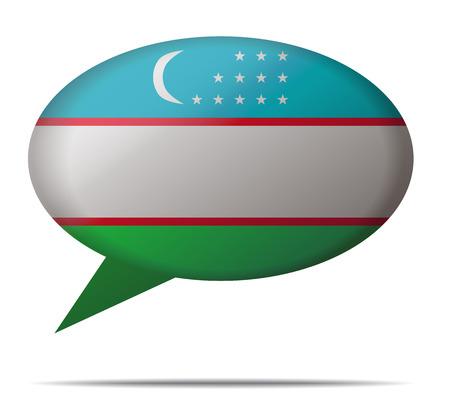 oezbekistan: Illustratie tekstballon Vlag Oezbekistan Stock Illustratie
