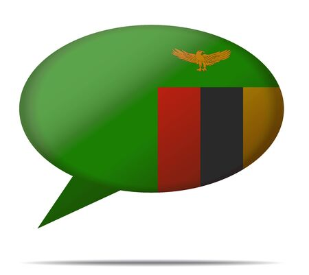 spech bubble: Illustration Speech Bubble Flag Zambia Illustration