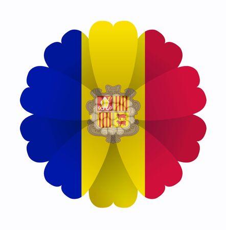 andorra: illustration of flower Flag Andorra Illustration