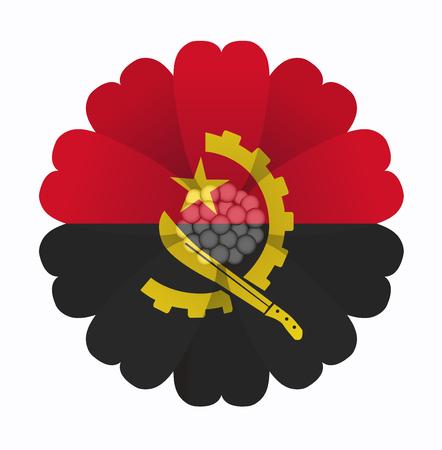 angola: illustration of flower Flag Angola Illustration