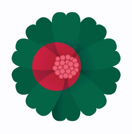bangladesh: illustration of flower Flag Bangladesh