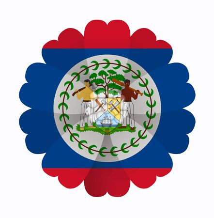 belize: illustration of flower Flag Belize