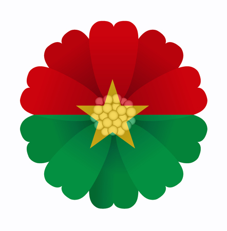 illustration of flower Flag Burkina Faso