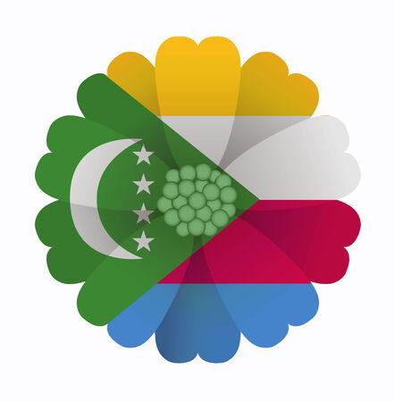 comoros: illustration of flower Flag Comoros