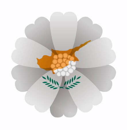 cyprus: illustration of flower Flag Cyprus