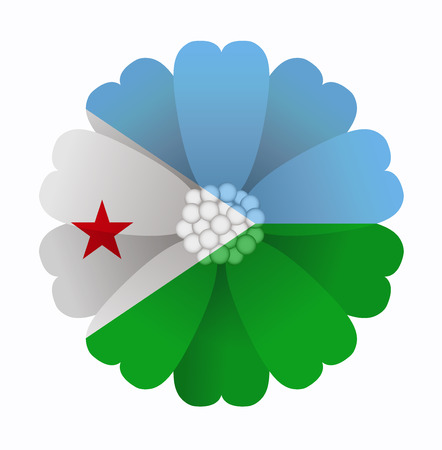 djibouti: illustration of flower Flag Djibouti Illustration