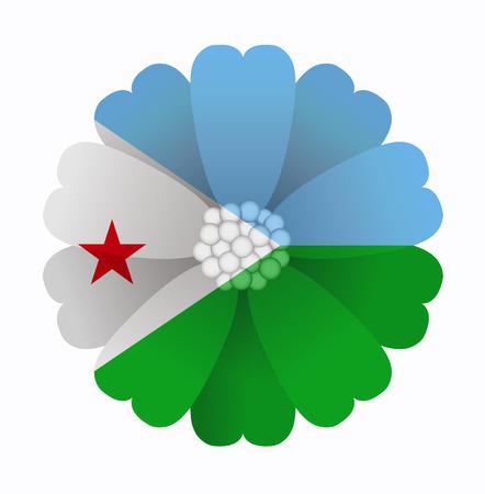 illustration of flower Flag Djibouti Illustration