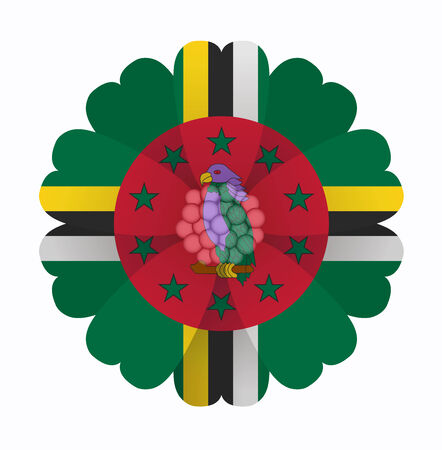 dominica: illustration of flower Flag Dominica