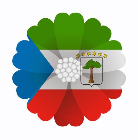 guinea equatoriale: illustrazione di fiore Bandiera Guinea Equatoriale Vettoriali