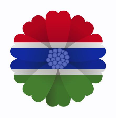 gambia: illustration of flower Flag Gambia Illustration